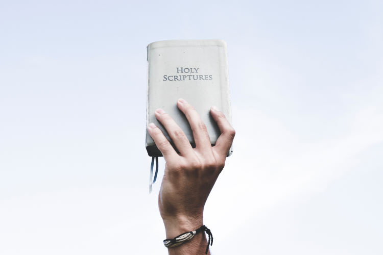 Hand hold a Bible