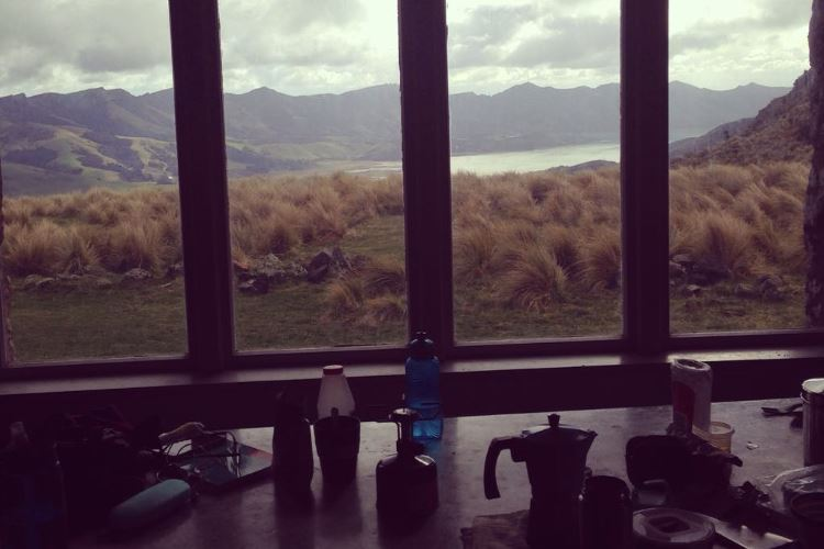 View of mountains and lake from Packhorse Hut in Canterbury, near Christchurch