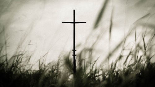 Looking through long grass at the cross